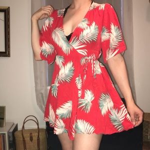 Forever 21 Palm leaf wrap dress